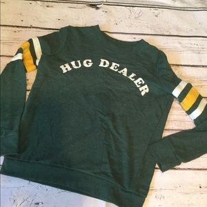 Mighty Fine Green Ringer Sweatshirt HUG DEALER XS